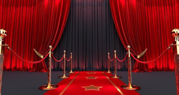 Awards tonen achtergrond met rode gordijnen open op zwart scherm, lange rode loper tussen touwbarrières