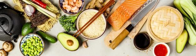 Aziatisch eten bovenaanzicht