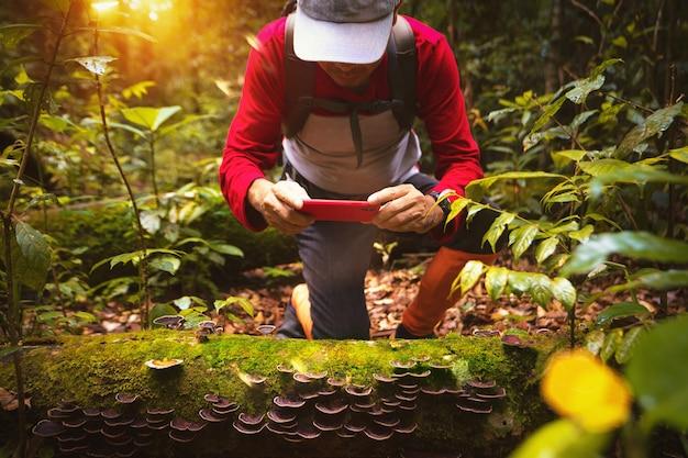 Aziatische backpacker wandelen en foto nemen in diepe bossen in het noorden van thailand