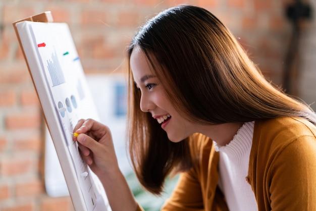 Aziatische bedrijfsvrouw die op grafiek vastpinnen