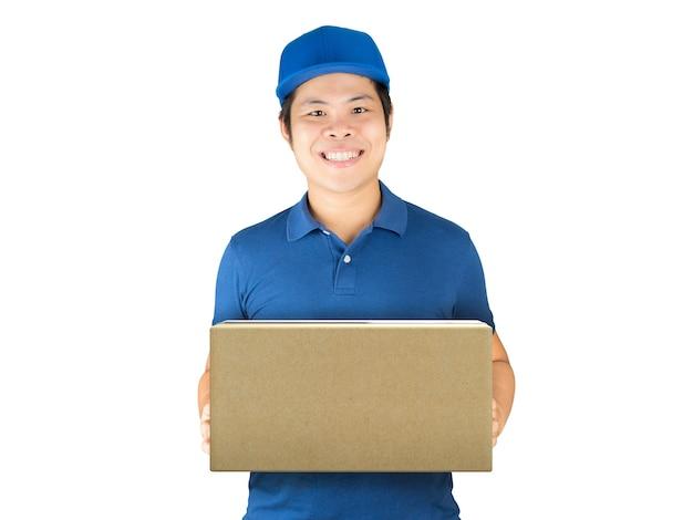 Aziatische bezorger met kartonnen doos