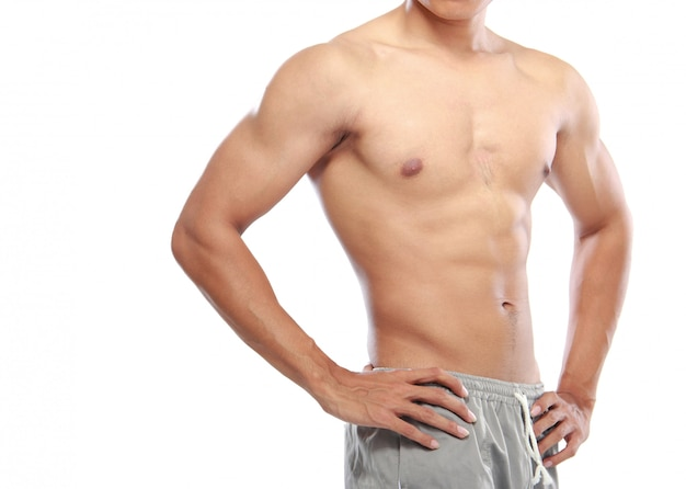 Aziatische bodybuilders lichaam geïsoleerd