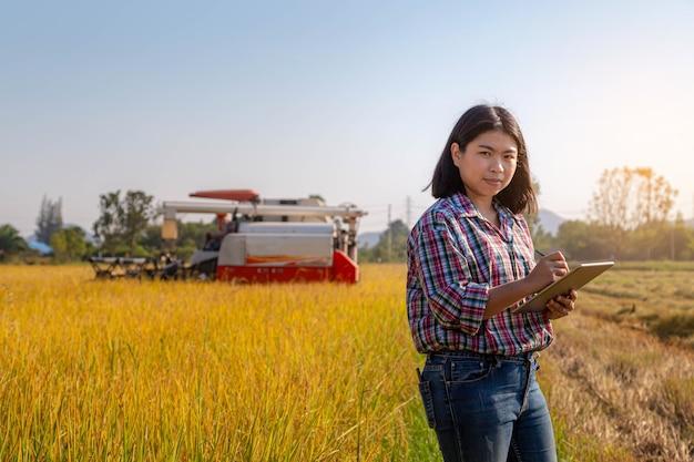 Aziatische boer gebruikt tablet voor controle en registratie van oogstinformatie
