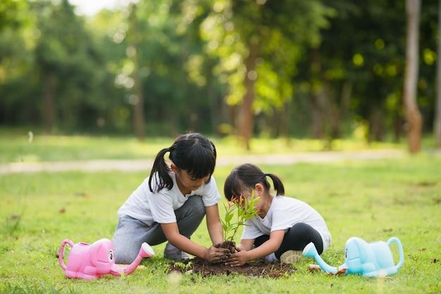 Aziatische broer of zus plant samen jonge boom op zwarte grond als wereld redden in de tuin op zomerdag