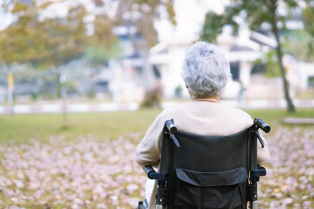 Aziatische hogere vrouwenpatiënt op rolstoel in park.