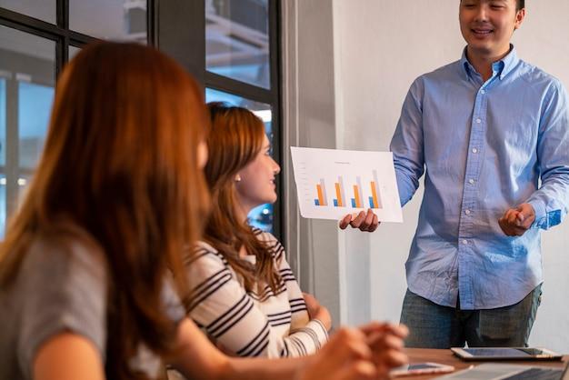 Aziatische jonge startende bedrijfsmens in vrijetijdskleding presenteert zijn werk aan collega en bespreekt en brainstormt met zijn startend commercieel team in modern co werkend bureau. een jong ondernemersconcept