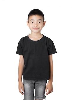 Aziatische jongen is een glimlach op een witte achtergrond