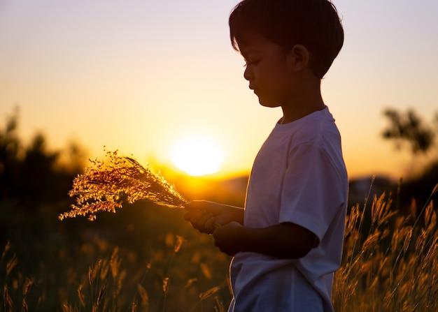 Aziatische jongen met een bloemgras in de avond bij zonsondergang