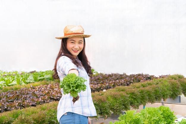 Aziatische landbouwersvrouw die rauwe groentesalade voor controlekwaliteit houden in hydrocultuur landbouwbedrijfsysteem in serre.