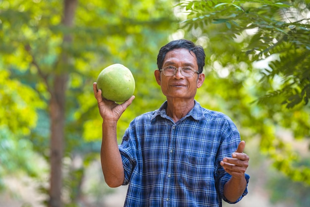 Aziatische man senior farmer met pomelo groen, aziatische man boer op lege kopie ruimte