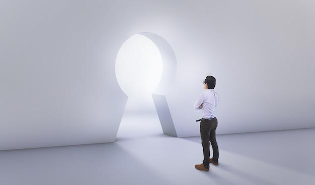 Aziatische man standing in front of big lock hole door