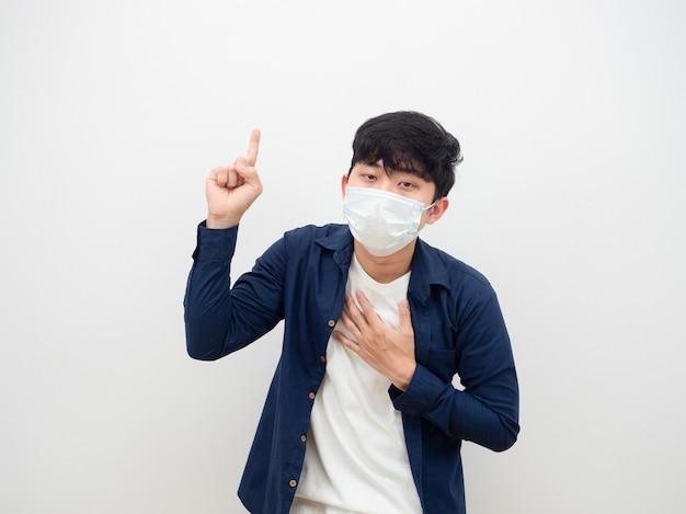 Aziatische man wijzend met zijn vinger