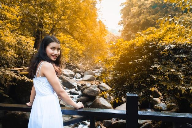 Aziatische meisjestoeristen bezoeken de schoonheid van de natuur in de waterval.