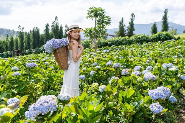 Aziatische mooie vrouwen op het gebied van hortensia