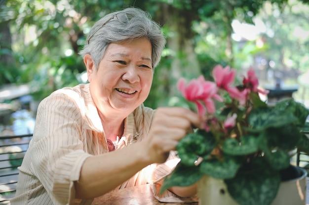 Aziatische oude aziatische bejaarde hogere oudere vrouw die bloemboeket schikken