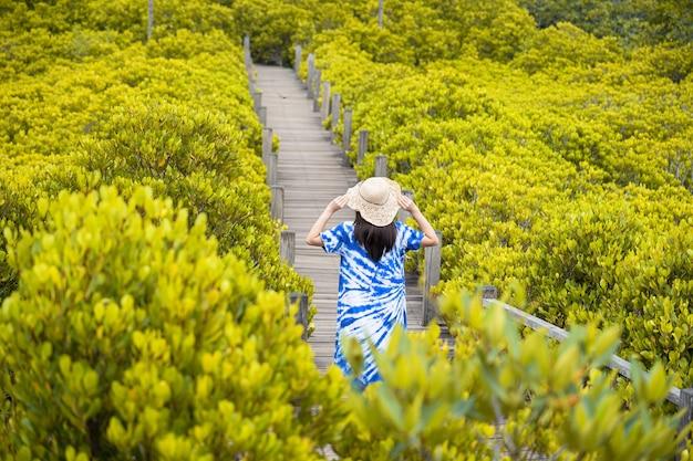 Aziatische reizigersvrouw die de hoed houdt en zich op houten brug bevindt voor reis bij tung prong thong forest local pak