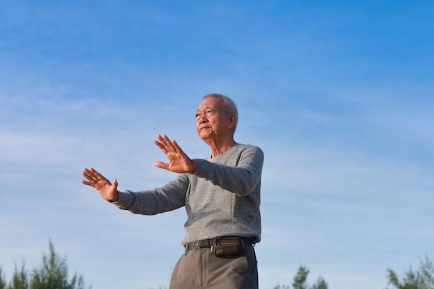 Aziatische senior oude man praktijk taichi chinese kungfu op het strand