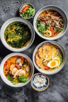 Aziatische soepen, miso, ramen, tom yam, pho bo