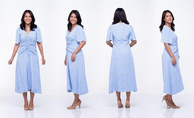 Aziatische vrouw draagt blouse klassieke moederstijl. indiase moeder staat en poseert op witte achtergrond geïsoleerd