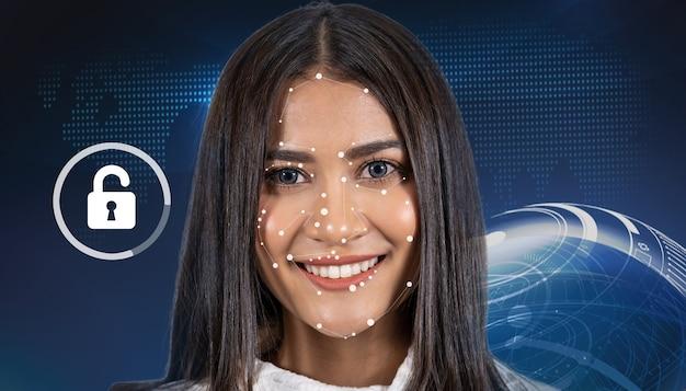 Aziatische vrouw gezichtsdetectie en -herkenning via de vorm van de technologieverbinding