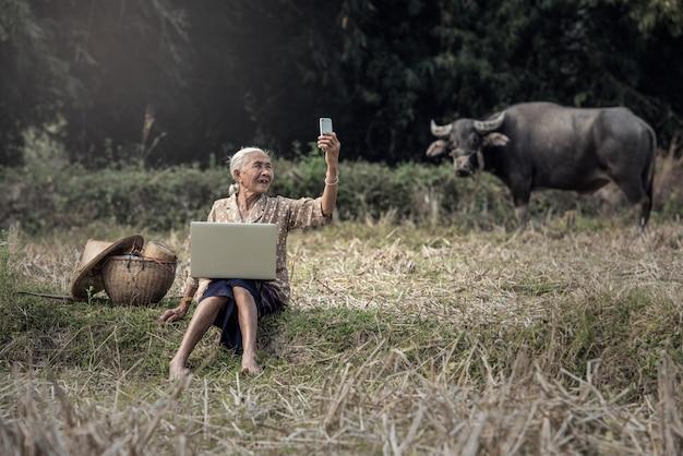 Aziatische vrouw selfie