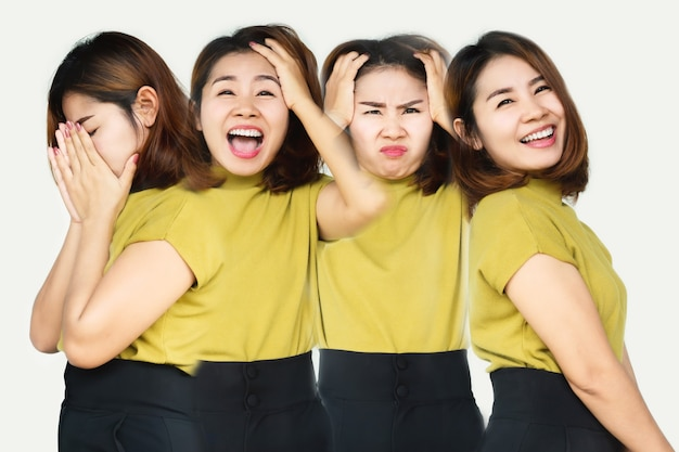 Aziatische vrouw stemmingswisselingen met verschillende emoties meervoudige persoonlijkheidsstoornis