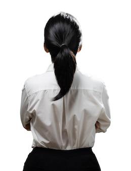 Aziatische vrouw vinger punt dragen wit overhemd achteraanzicht geïsoleerd op een witte achtergrond