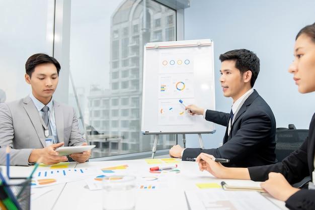 Aziatische zakenman die de grafieken van het businessplan voorstellen op de vergadering