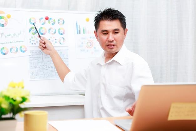 Aziatische zakenman praten met team via videoconferentie analyse rapport grafiekpapier op whiteboard mensen uit het bedrijfsleven met behulp van laptop voor onlinevergadering