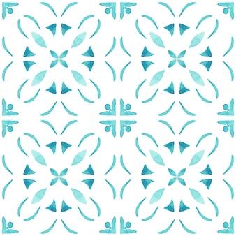 Azulejo aquarel naadloze patroon. traditionele portugese keramische tegels. hand getekende abstracte achtergrond. aquarelillustraties voor textiel, behang, print, badmodeontwerp. blauw azulejopatroon.
