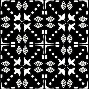 Azulejo aquarel naadloze patroon. traditionele portugese keramische tegels. hand getekende abstracte achtergrond. aquarelillustraties voor textiel, behang, print, badmodeontwerp. zwart azulejo-patroon.