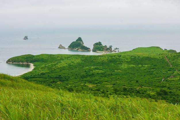 Baai van de zee vanaf de top van een heuvel van een bergachtige kust met een eiland, zomerlandschap en zeegezicht bij bewolkt bewolkt weer.