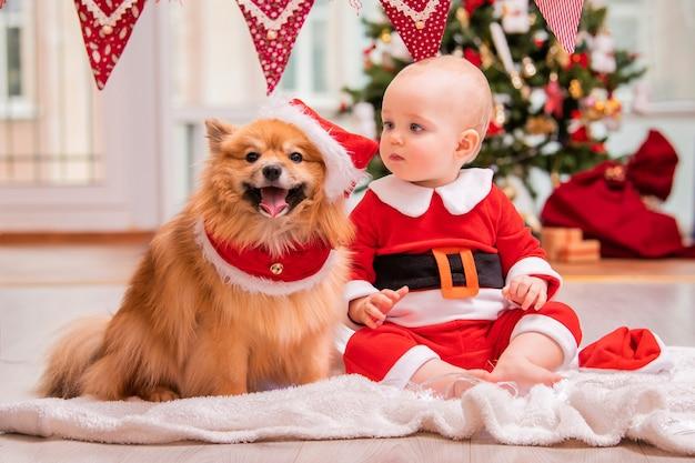 Baby in kerstmankostuum en pluizige pomeranian spitz spelen thuis samen tegen de achtergrond van een versierde kerstboom.
