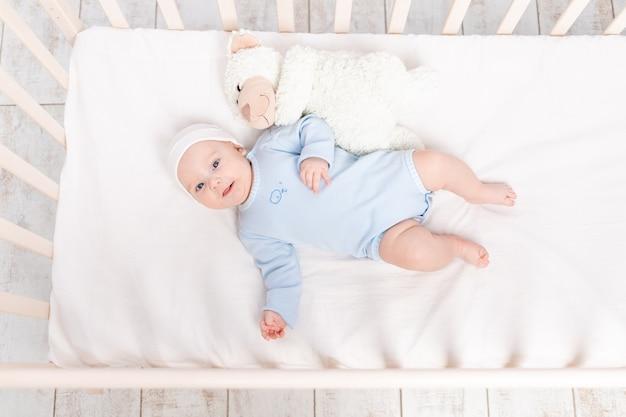 Baby in wieg met teddybeer speeltje gaat naar bed of werd 's ochtends wakker, familie- en geboorteconcept