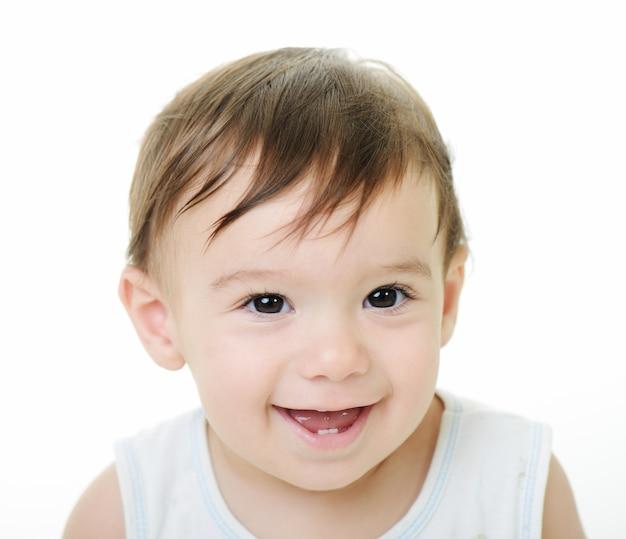 Baby jongen met verschillende grappige poses geïsoleerd op wit met kopie ruimte