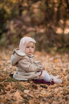 Baby meisje zit in de herfst bladeren