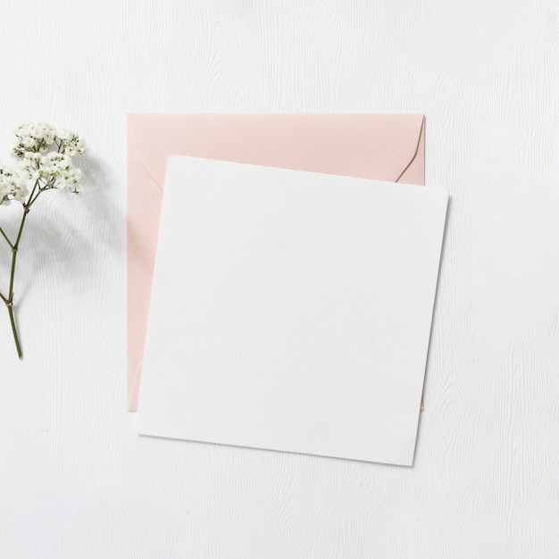 Baby's-adembloemen en roze en witte envelop op witte achtergrond