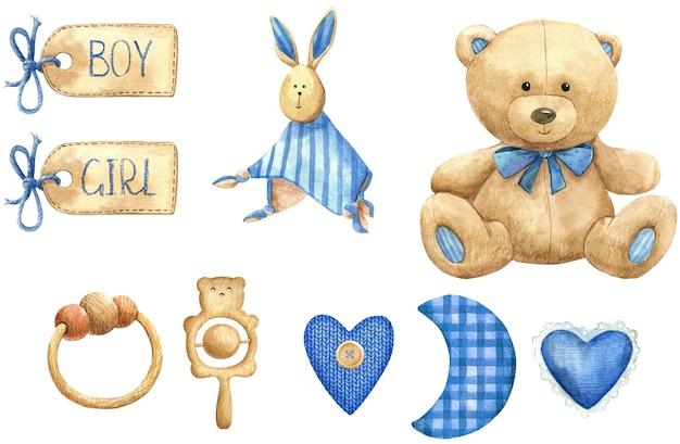 Baby speelgoed beer spullen label het is een jongen baby douche teddy blauwe aquarel set geïsoleerd