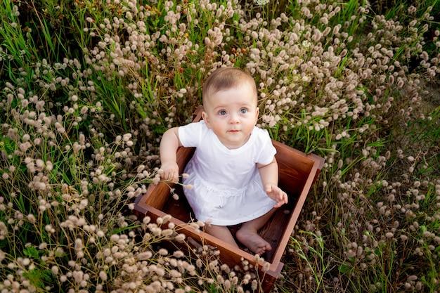 Baby tussen de wilde bloemen in een veld in de zomer het kind in de frisse lucht