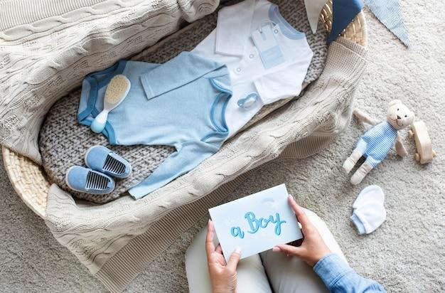 Babyjongen babydouche concept
