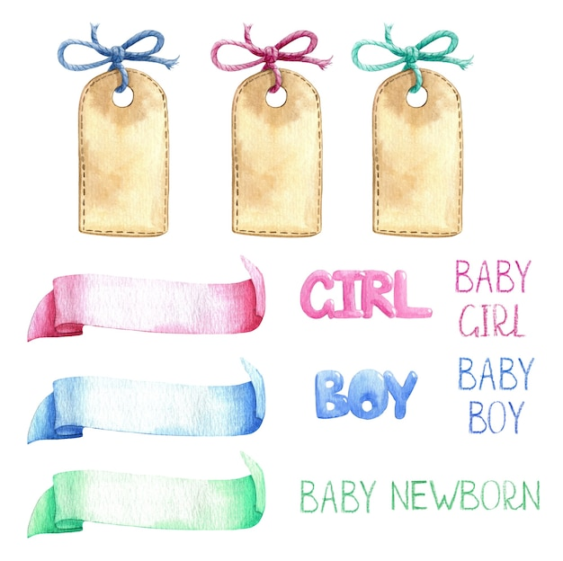 Babykamer sjabloon lint titel label leeg aquarel set