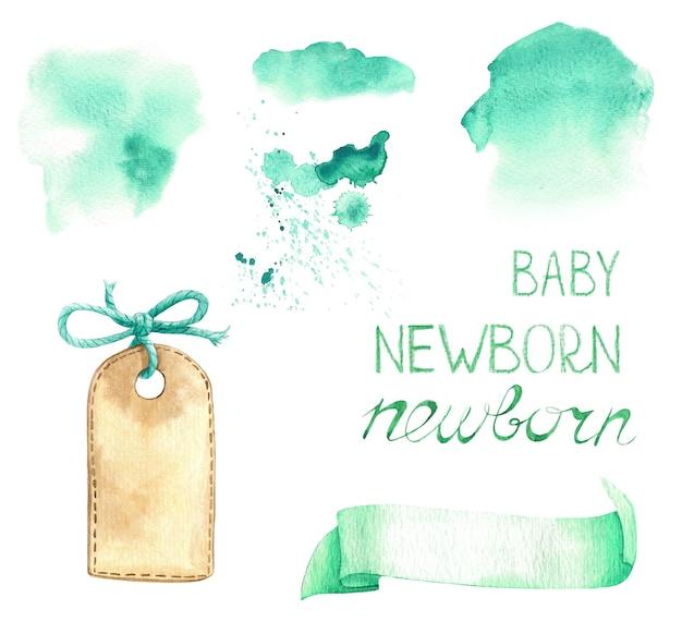 Babykamer sjabloon lint titel label plons blanco aquarel set groen