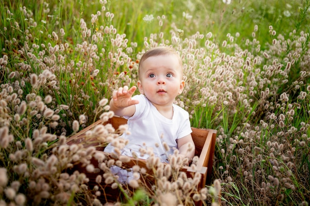 Babymeisje 7 maanden oud spelen op een groen gazon in een roze romper, wandelen in de frisse lucht, vroege ontwikkeling van kinderen tot een jaar