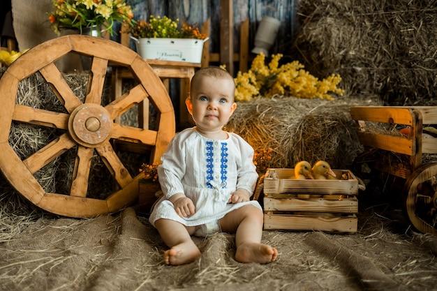 Babymeisje in een witte linnen jurk met borduurwerk zit op stro tegen het oppervlak van een hooiberg. pasen decoratie