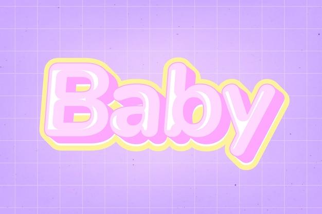 Babytekst in schattig komisch lettertype