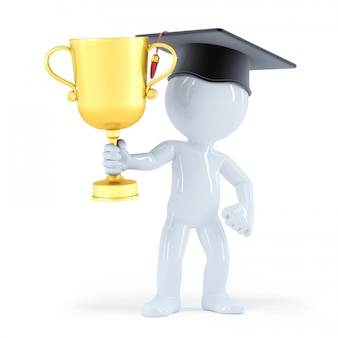 Bachelor met een gouden trofee
