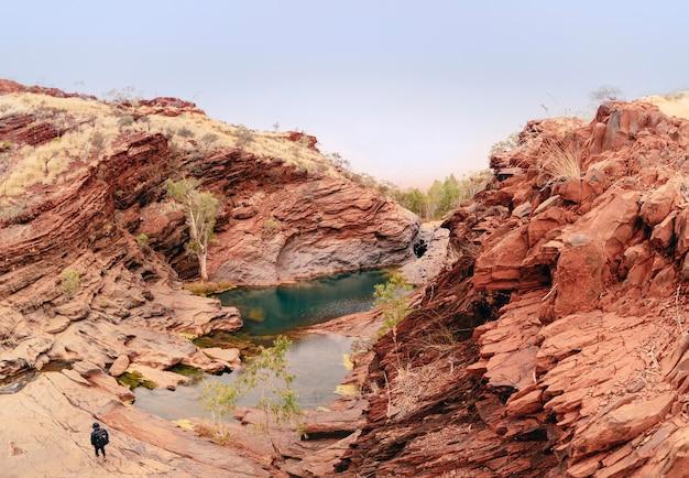 Backpacker jonge mannelijke reiziger op zoek naar avontuur in australië.
