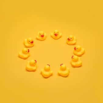 Badeenden vormen een cirkel