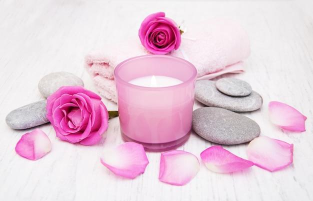 Badhanddoeken met roze rozen
