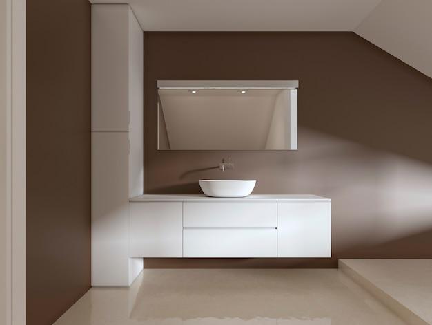 Badkamer ijdelheden in de badkamer eigentijdse stijl. 3d-rendering.